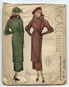 1930s-Vintage-Sewing-Pattern-McCall-8038-Wrap-Coat-Fur-Collar-Skirt-Art-Deco