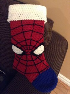 Ravelry: aprilhouse's Spider-Man stocking - Visit to grab an amazing super hero shirt now on sale! Crochet Christmas Stocking Pattern, Crochet Stocking, Crochet Christmas Ornaments, Holiday Crochet, Christmas Knitting, Crochet Christmas Stockings, Crochet Santa, Christmas Sock, Crochet Crafts
