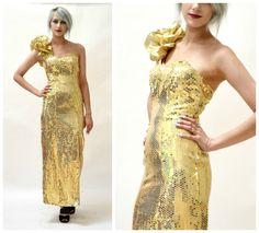 Vintage Gold Metallic 80s Prom Dress Size XS Small// Vintage Gold Sequin Evening Gown Pageant Drag Queen Dress Size XS Small by Flirtations by Hookedonhoney on Etsy