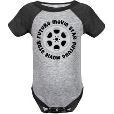 Future Movie Star Infant Creeper with film reel logo, a cute childs occupation gift. $24.99 www.homewiseshopperkids.com