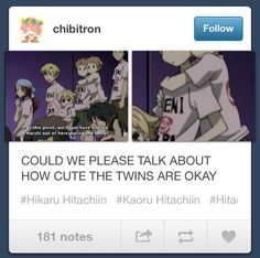 Wow. Well idk how to fell about this, i think I shouldn't like it bcuz I cosplay as Hikaru and my friend cosplays as Kaoru. I like it tho bcuz the twins are just so cute at moments like this. Ouran high school host club gives me mixed feelings... DX