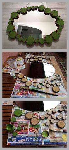 Mirror restoration with wood slices / Tükör felújítás fa korongokkal - old mirror, wood slices, acryl paint, glu gun / egy régi tükör, fa korongok, akril festék, ragasztó pisztoly