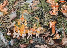 Thai mural painting inside of Buddhist temple, Thailand photo