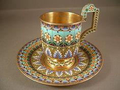 Russian Silver & Shaded Enamel Cup & Saucer: Khlebnikov 1908-1917