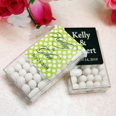 personalized tic tacs. cute idea that would probably be cost effective and everyone would like, unlike some other cheap favors.