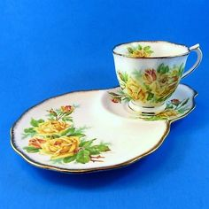 Royal Albert Tea Rose Tea Cup & Saucer Tennis Snack Set