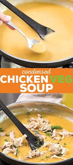 This condensed chicken and vegetable soup is packed with flavor and can be made up to a week ahead of time. Just add more stock and dinner is served!
