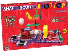 "Snap Circuits Motion, a ""Best Toys of 2014 Award Winner"", makes learning about electronics and its effect on motion…a SNAP! This all-new kit has everything you need to build over 165 amazing projects with more than 50 parts and pieces, including a lighted fan that changes colors as it spins, an air fountain, motion detector, a multi-use ""merry-go-round"", mini car, tilt and vibration switches, siren sounds, spinning hypnotic pattern wheels and a detailed instruction manual."