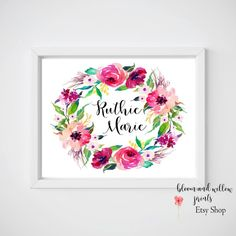 Baby name sign flowers Door Decor Baby by BloomAndWillowPrints