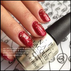 OPI Red Fingers and Mistletoes w 18k top coat Gwen Stefani holiday 2014. All the swatches @ www.imabeautygeek.com