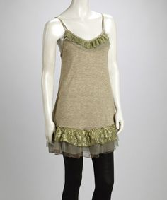 Take a look at this Green Lace Ruffle Silk-Blend Camisole Tunic by Pretty Angel on #zulily today!