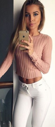 #fall #stylish #outfits | Pink Ribbed Crop + White Denim