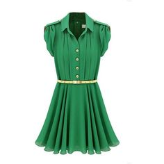 FINEJO Women's Celeb Style Chiffon Party Evening Dress With Belt ($21) ❤ liked on Polyvore