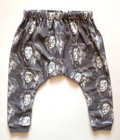 Grey, White Lion Lions Lionel Harem Pants, Indie Nook, Etsy
