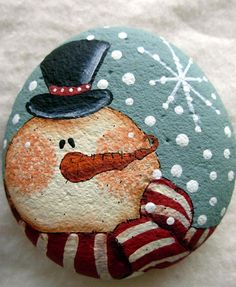 Snowman and Snowflake Garden Stone - Handpainted Home Decor Paperweight Garden by bywayofsalem on Etsy