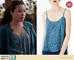 Mariana's teal leopard print top on The Fosters. Outfit Details: http://wornontv.net/27577 #TheFosters #fashion