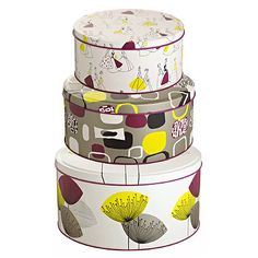 3 Sanderson Dandelion Clocks Cake Tins - From Lakeland -- I need these cake tins, they match my cups!