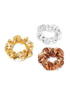 Metallic Hair Scrunchie 3pcs -SheIn(Sheinside)