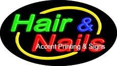 Hair & Nails Flashing Handcrafted Real GlassTube Neon Sign
