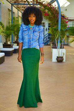 Stone Wash Denim Shirt + Fitted Maxi Skirt
