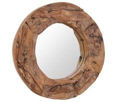 Our teak mirror is a practical product, but also an attractive d . - Nieuw Speelgoed en woonartikelen (New Toys) - uniek Round Wall Mirror, Beveled Mirror, Round Mirrors, Chevron Frames, Driftwood Mirror, Overmantle Mirror, Rustic Bathroom Vanities, Style Rustique, Glass