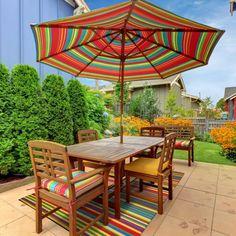 """Green Decore 150 x 240 cm """"Stripes"""" Alfombra Ecológica para Interiores y Exteriores de Plástico Reciclado - Ligera y Reversible - Indoor / Outdoor, Azul Clásico / Blanco: Amazon.es: Hogar"""