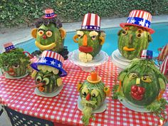 If Halloween can have a vegetable with a face on it … why can't Forth of July have a fruit with a face on it? Fourth Of July Food, 4th Of July Party, July 4th, Summer Parties, Summer Fun, Halloween Cans, Happy Birthday America, Patriotic Decorations, Food Art