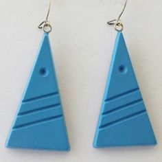 Striking modernist blue triangle earrings for pierced ears that have that wow factor Unusual modernand space age style in shaped blue plastic
