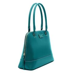 Kate Spade Large Rachelle Shoulder Handbag gorgeous kate spade turquoise rachelle shoulder handbag from the outlet. gently used- like new condition. worn only a handful of times. no scoffs/marks. can fit 12in MacBook Air. perfect for work or play. includes tags and dust bag.  - 10.''h x 13.6''w x 5.1''l - patent cowhide with smooth cowhide trim 14-karat light gold plated hardware custom woven rainspot lining - over the shoulder bag with zipper closure interior double slide pockets and zip…