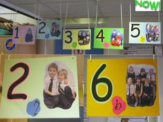 Love this as a classroom number line display. Use groups of children to represent each number. Maths Eyfs, Eyfs Classroom, Preschool Math, Kindergarten Math, Teaching Math, Early Years Maths, Early Years Classroom, Early Math, School Displays