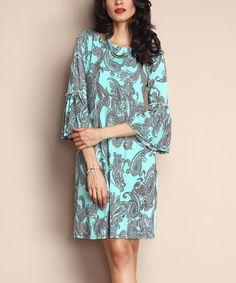Aqua Paisley Bell-Sleeve Shift Dress   2b1619c16516