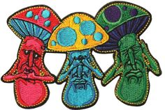"""Amazon.com: [Single Count] Custom and Unique (4"""" by 2 1/2"""" Inches) Colorful Mushroom See No Evil Hear No Evil Speak No Evil Iron On Embroidered Applique Patch {Red, Yellow, BLue, and Green Colors}"""