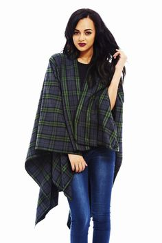 PLAID CAPE $44