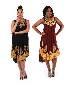 Embroidered Batik Summer Dress, Rare Nubian