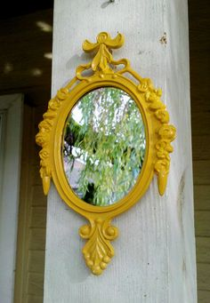 Small Mirror in Vintage Marigold Yellow Frame  by SecretWindow, $16.50