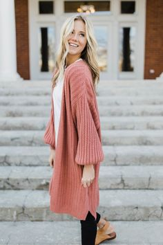 """Stripe Knit Cardigan in Mauve Oversized Bishop Sleeves w/Elastic Cuff Extremely Soft Material Ribbed Hem Detail Split Side Seams Open Front View Size Chart Model is 5'9"""" + Wearing a S/M"""