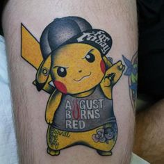 pokemon pikachu new school tattoo Badass Tattoos, Body Art Tattoos, New Tattoos, Tattoos For Guys, Cool Tattoos, Pikachu Tattoo, Old School Tattoo Designs, Tattoo Designs Men, Tattoo New School