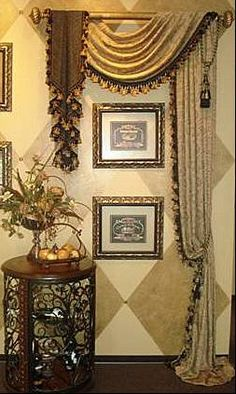 Pole mounted Swag with reverse jabot. window treatment, drape, curtain