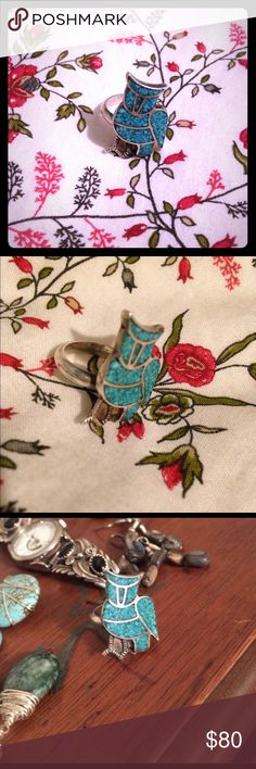 Vintage turquoise inlay sterling silver owl ring One of a kind turquoise ring. Honestly so beautiful the pictures don't do it justice. Only worn once Vintage Jewelry Rings