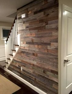 Reclaimed Barn Wood 3 Wide Planks 10 Square Feet / Yes- Peel and Stick Adhesive Basement Stairs Adhesive barn feet Peel Planks reclaimed Square Stick Wide Wood Basement Makeover, Basement Renovations, Home Renovation, Basement Ideas, Basement Plans, Basement Flooring, Walkout Basement, Basement Stairs, Basement Kitchenette