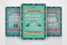 Check out 3 Retro Christmas Flyers - Part 6 by Digital Space on Creative Market