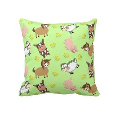 Bright Fun Kids Cute Farm Animals Patterned kid's room or baby nursery throw pillows.  A fabulous bright fun throw pillow for little boys and girls with cute farm animals, cows, pigs, sheep and of course little piggies. Will brighten up any kid's room with a fun cheerful look.