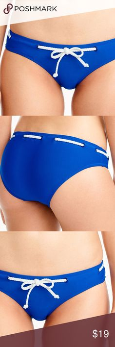 J.Crew Bikini Swim Bottom with Braded Tie - NEW! Our nautical take on the classic bikini bottom with a braided-rope tie. in Bistro Blue Size: Small  Tactel nylon/spandex. Moderate coverage.  Lined. Our swimsuits are machine washable, but we recommend hand washing as it helps keep the fabric and the shape of the suit looking newer, longer. J. Crew Swim