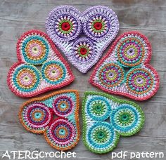 Colorful Circle Heart by ATERGcrochet crochet pattern $3.70 on Etsy at http://www.etsy.com/listing/87681207/crochet-pattern-colorful-circle-heart-by