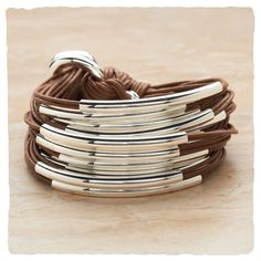 silver leather cord bracelet