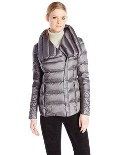BCBGMAXAZRIA Women's Lilly Short Packable Coat Asymmetrical Zip -- Details can be found by clicking on the image.