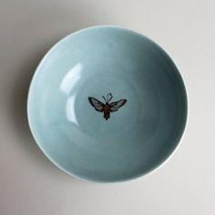 LOVE! small dessert bowl in sky with hummingbird moth by gleenashop #etsy
