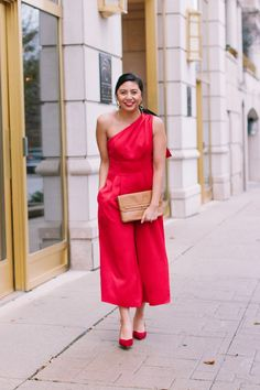 3930d03a0c71 The Best Red Jumpsuit For The Holidays From The Gal Meets Glam Collection.     Carmen Jumpsuit    What to Wear to a Holiday Party    How to wear a red  ...