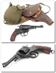 Excellent condition World War II Soviet Model 1895 Nagant revolver with belt.