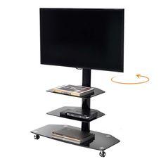 Carrello+porta+TV+M3001L+girevole+in+metallo+e+vetro+50+pollici